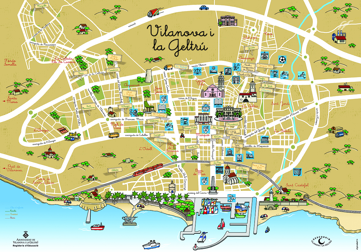 Mapa de vilanova i la geltr gl ria fort illustration for Piscina vilanova i la geltru